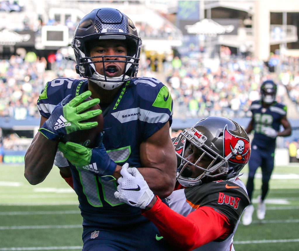Seahawks beat the Buccaneers 40-34 in overtime Sunday afternoon at CenturyLink Field in Seattle on November 3, 2019. (Kevin Clark / The Herald)