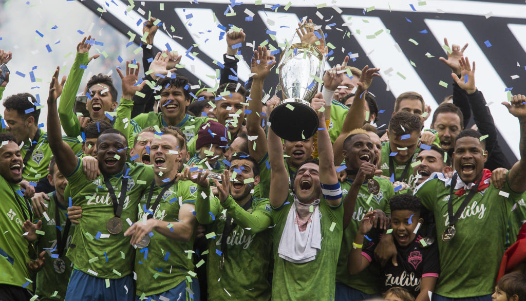 The Seattle Sounders beat Toronto FC 3-1 to win the MLS Cup at CenturyLink Field on Sunday, Nov. 10, 2019 in Seattle, Wash. (Andy Bronson / The Herald)