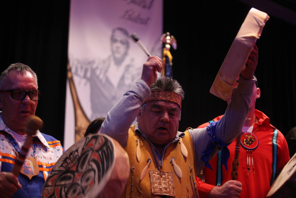 Tribal members remembered Stan Jones Sr. with drumming and stories of his legacy at a memorial in the Orca Ballroom at the Tulalip Casino Resort Tuesday. Jones, 93, died Nov. 5. (Andy Bronson / The Herald)