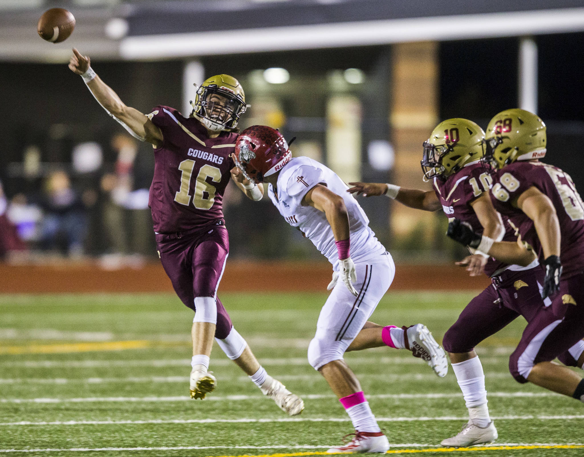 Led by dual-threat quarterback Jared Taylor (left) and a strong defense, Lakewood is in the state playoffs for the first time since 2012. (Olivia Vanni / The Herald)