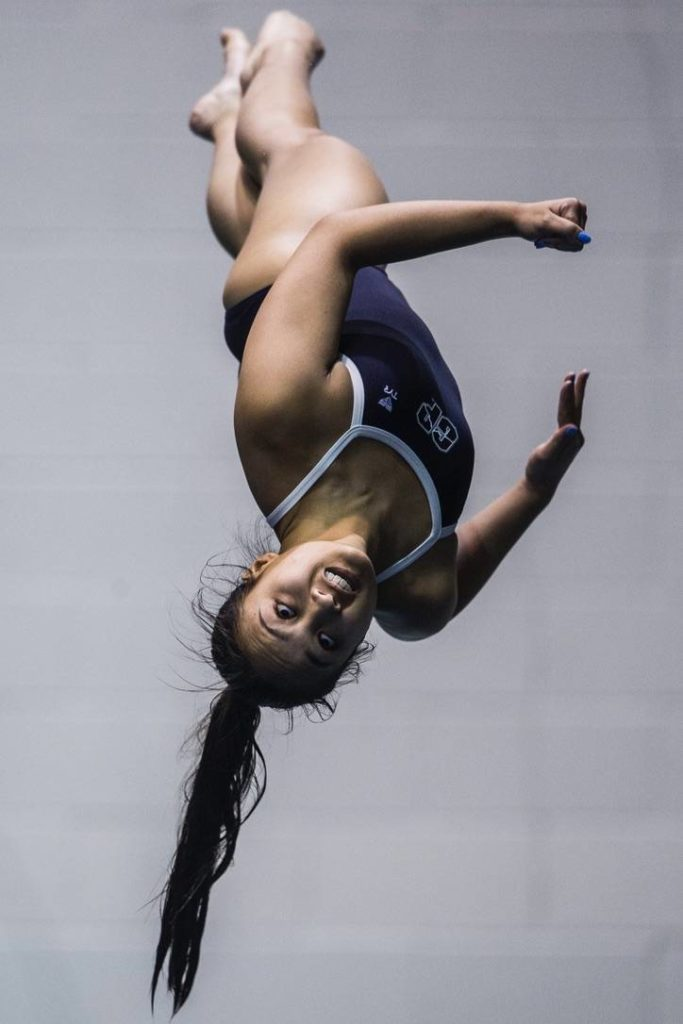 Glacier Peak senior Ryzele Lagdaan took fourth place in diving. (Olivia Vanni / The Herald)