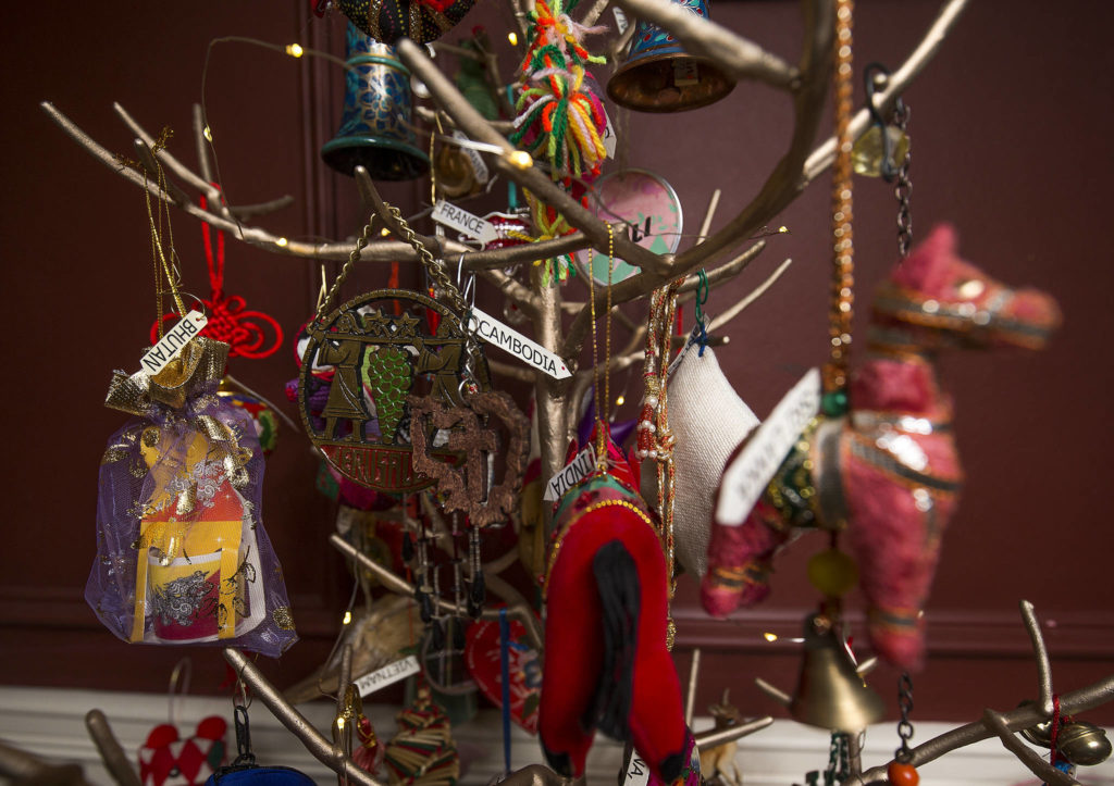 A tree at Bill and JJ Leese's home is decorated with ornaments from the many countries that they have visited. (Andy Bronson / The Herald)