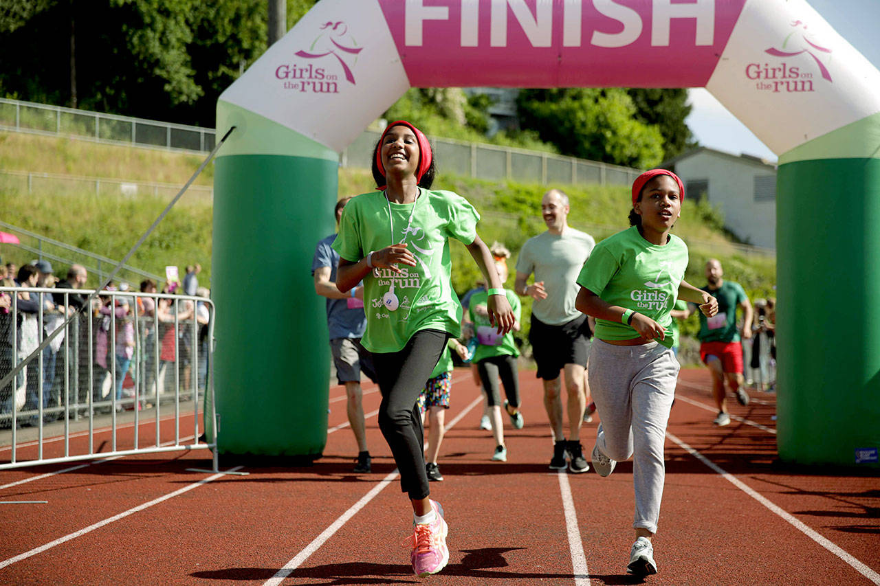 The 10-week Girls on the Run of Snohomish County program ends with a 5K that isn't a race. Girls move at their on pace. (Girls on the Run)