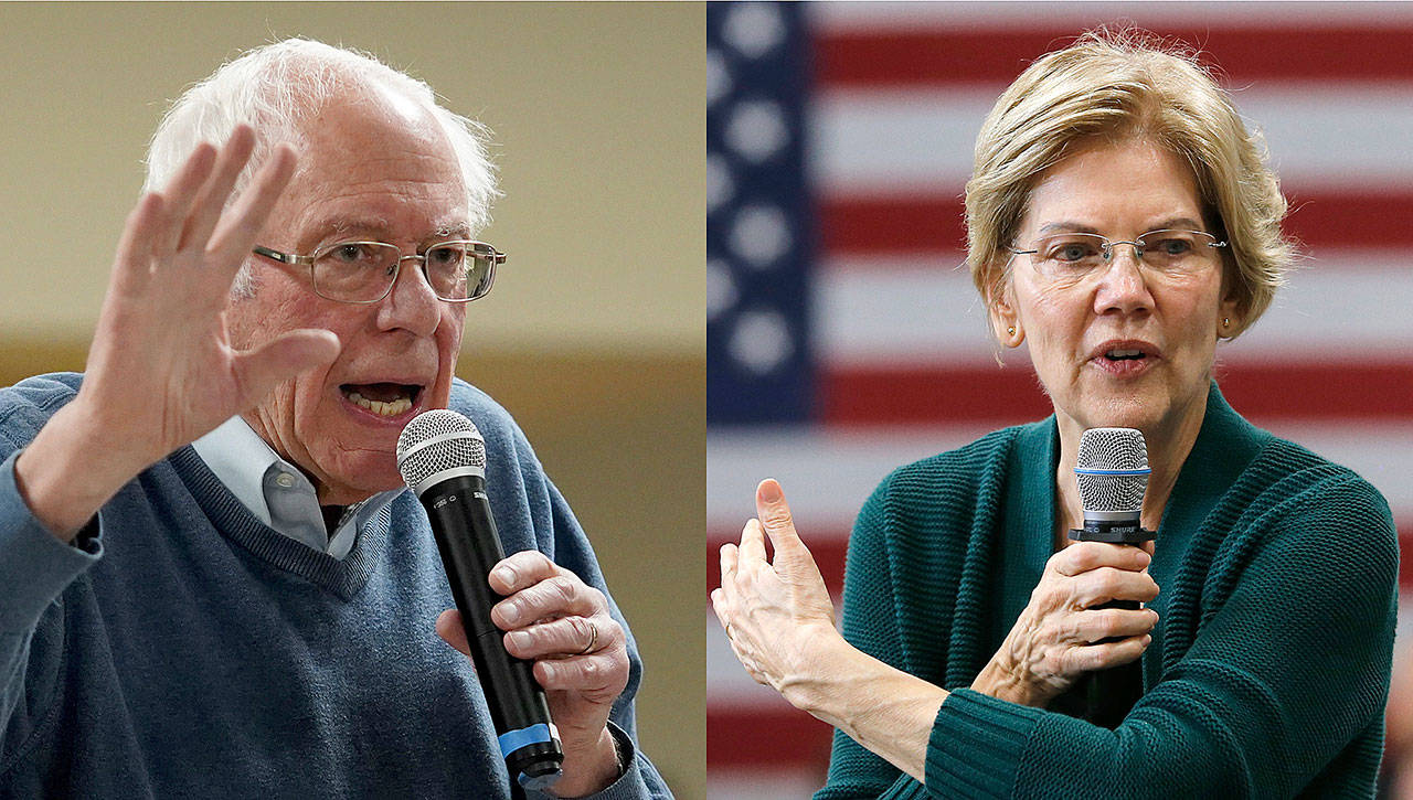 An impeachment trial in the Senate would pull Bernie Sanders and Elizabeth Warren off the campaign trail. (Associated Press)