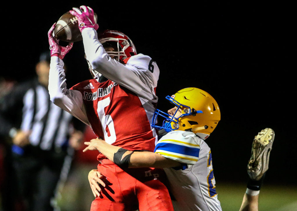 Dillon Kuk was a multi-threat playmaker for Marysville Pilchuck. (Kevin Clark / The Herald)