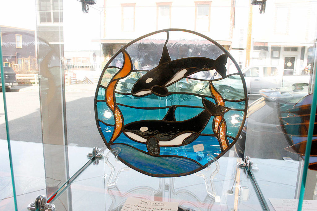 A stained glass piece at the Penn Cove Gallery. (Kira Erickson / Whidbey News-Times)