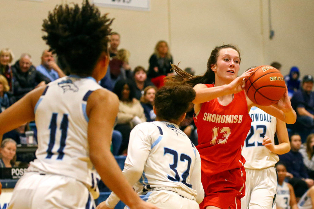 Meadwodale beat Snohomish 47-41 Tuesday evening at Meadowdale High School in Lynnwood. (Kevin Clark / The Herald)