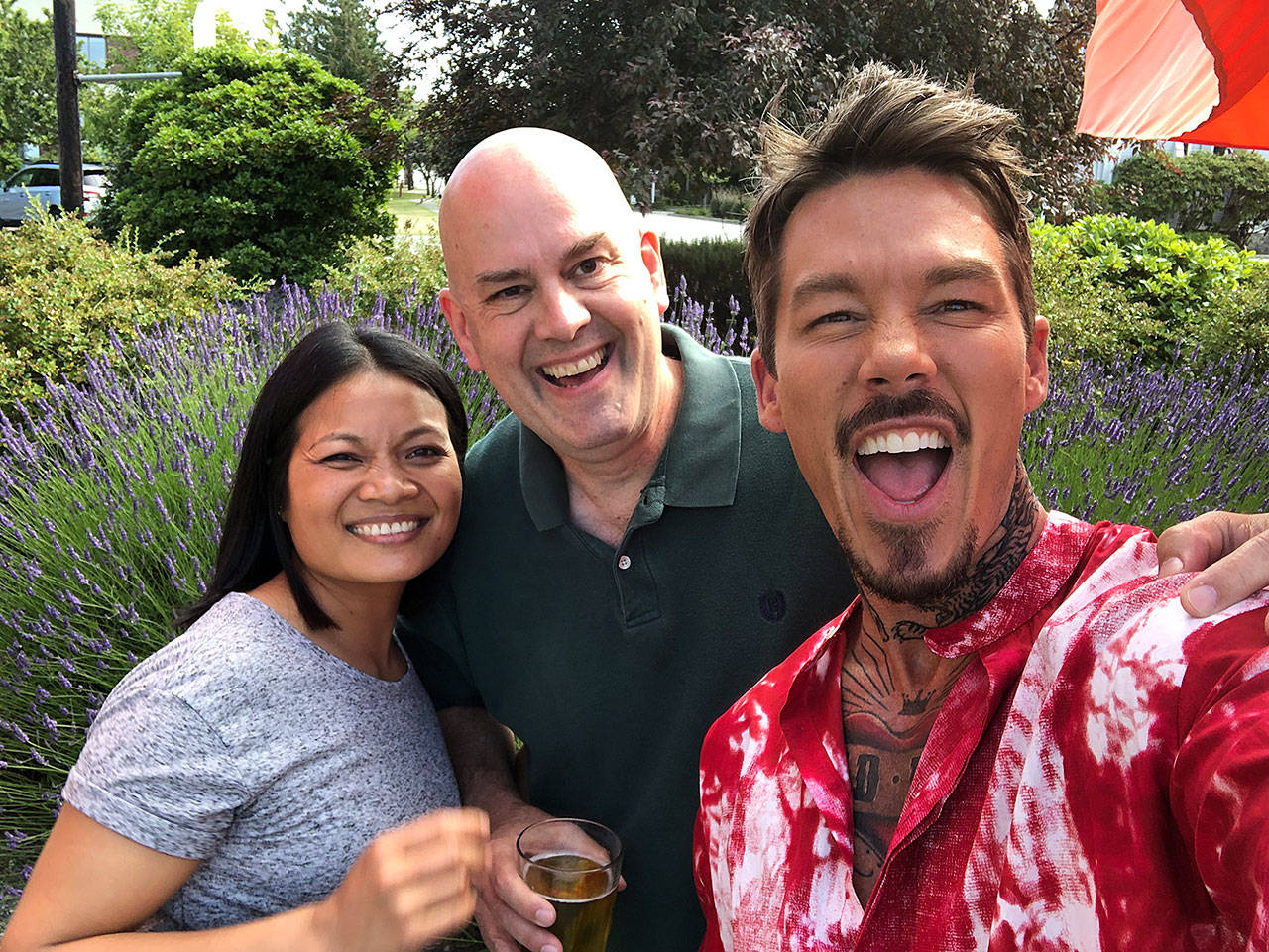 Tuk and Brian Kutz traveled the island with HGTV personality David Bromstad (right). (Submitted photo)