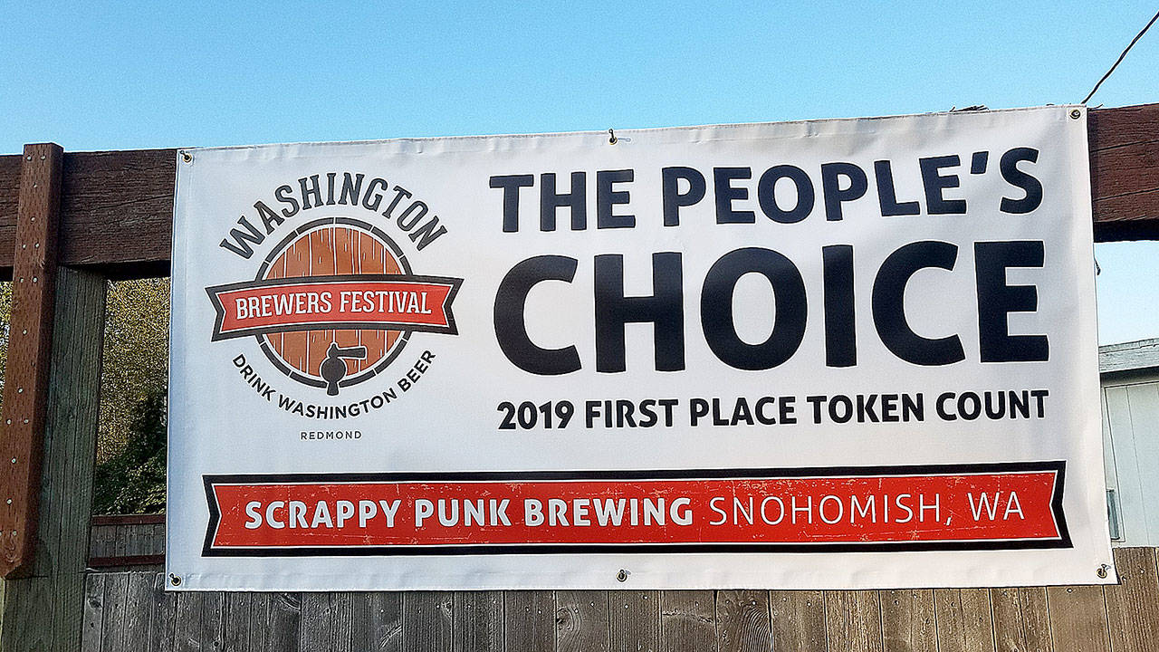 A poster touts Scrappy Punk's The People's Choice Award from this year's Washington Brewers Festival. (Scrappy Punk Brewing)