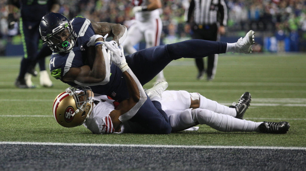 Seattle Seahawks DK Metcalf hauls in a pass just short of the end zone. The Seahawks lost to the San Francisco 49ers 26-21 at CenturyLink Field on Sunday, Dec. 29, 2019 in Seattle, Wash. (Andy Bronson / The Herald)