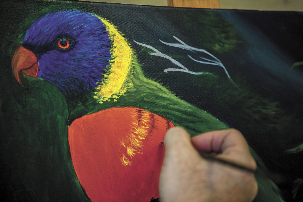 Pete Barth teaches about a half-dozen courses throughout the year, including painting, watercolors and drawing with pastels and colored pencils. (Olivia Vanni / The Herald)