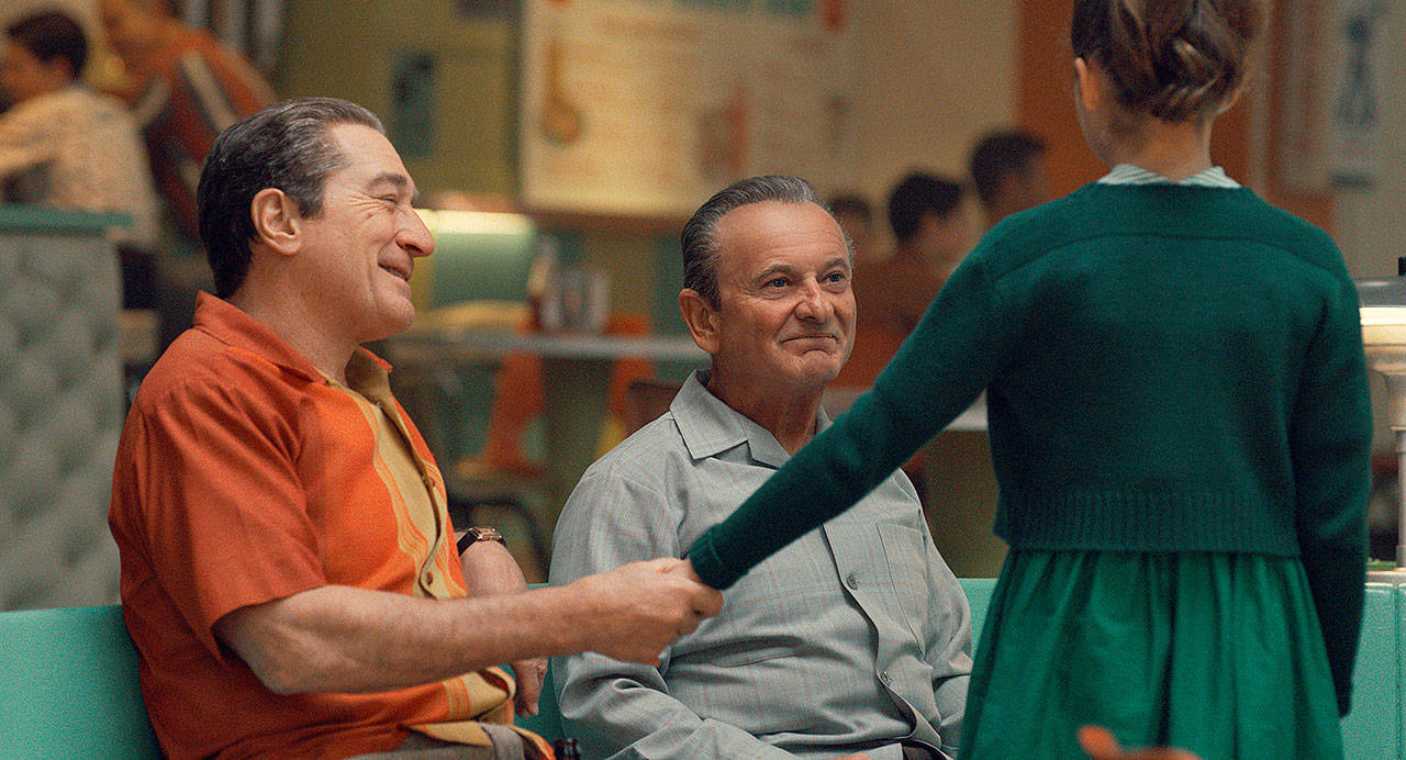 "Robert De Niro (left) plays real-life mobster Frank Sheeran, while Joe Pesci is his Mafia boss employer, in Martin Scorsese's ""The Irishman."" (Netflix)"