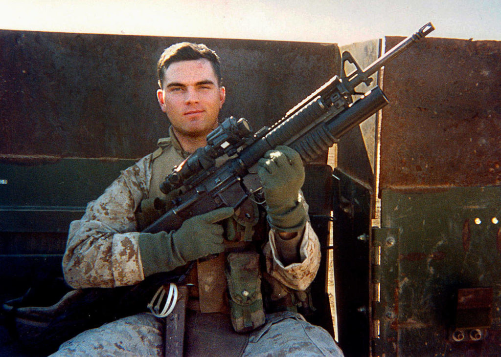 Marine Cpl. Jeffrey Starr in Ramadi, Iraq, in a photo from 2005. He was killed that year on Memorial Day. (Courtesy the Starr family)
