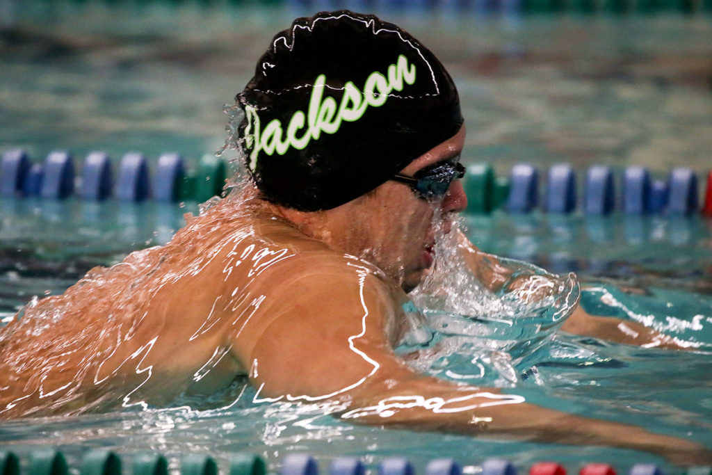 Jackson's Justin Limberg competes in the 200-yard IM during a meet against Shorewood on Tuesday afternoon at Shoreline Pool. (Kevin Clark / The Herald)