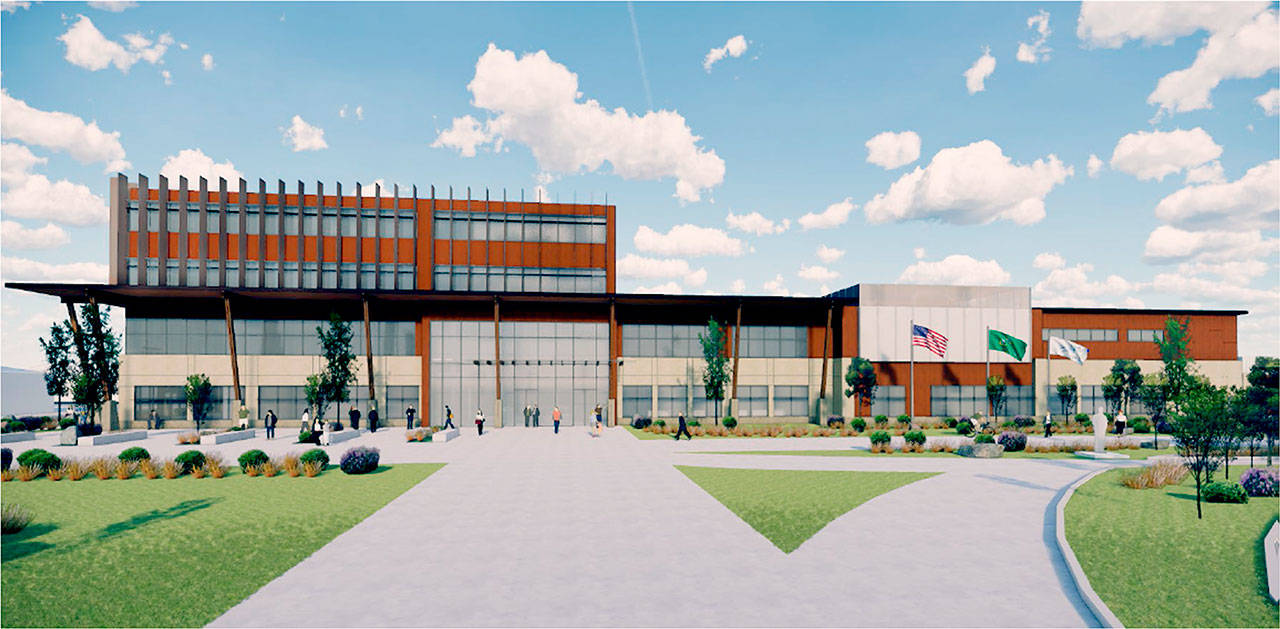 A rendering of the proposed Marysville civic center. The left side of the building is for city hall and other services, and the right is for the jail, courts and police department. (City of Marysville)