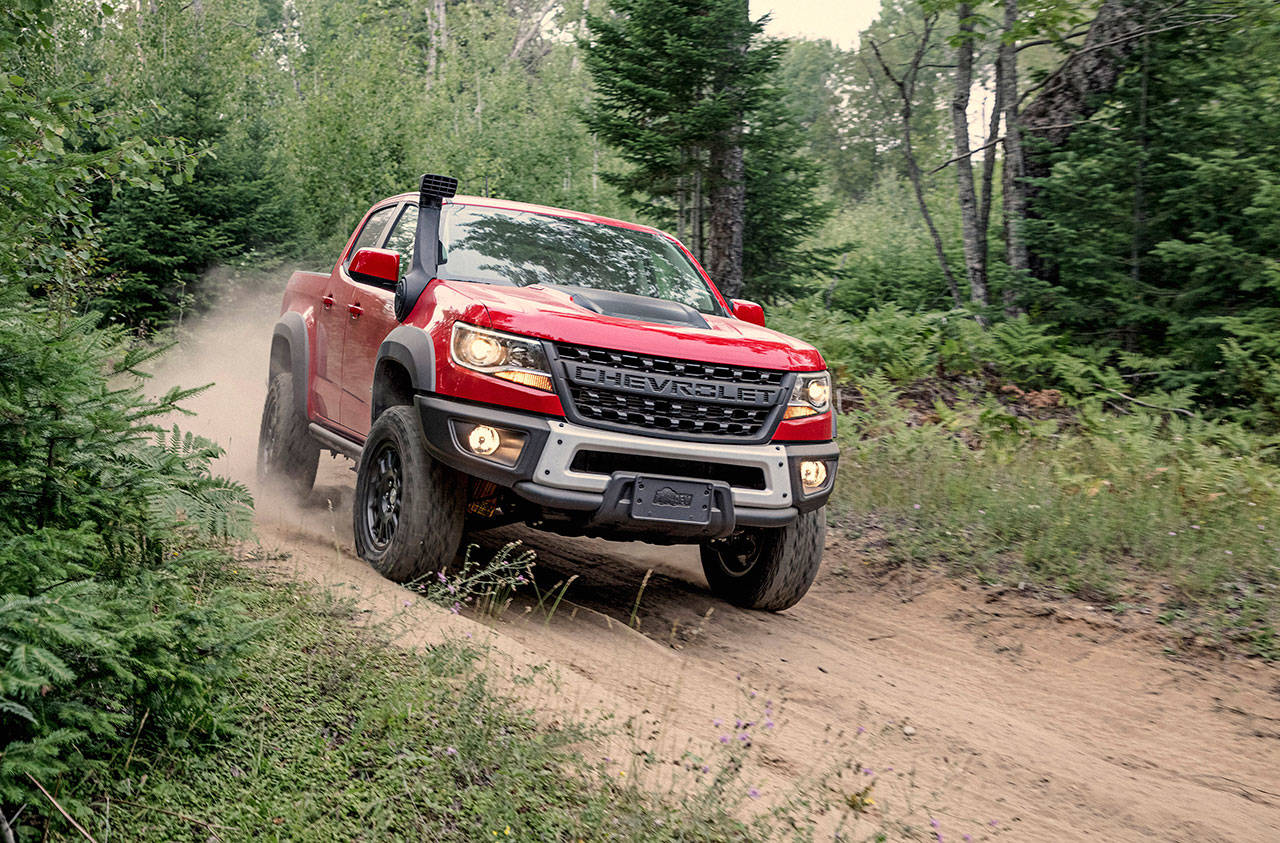 A flow-through Chevrolet-lettered grille bar is one of the exclusive features of the 2020 Colorado ZR2 Bison. (Manufacturer photo)