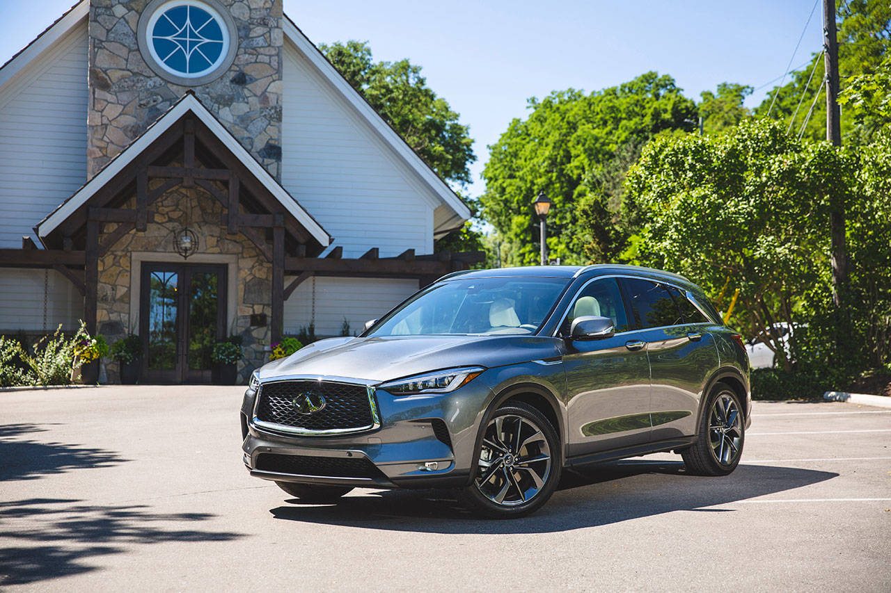 The 2020 Infiniti QX50 luxury compact SUV is available in five trim levels: Pure, Luxe, Essential, Sensory, and Autograph. (Manufacturer photo)