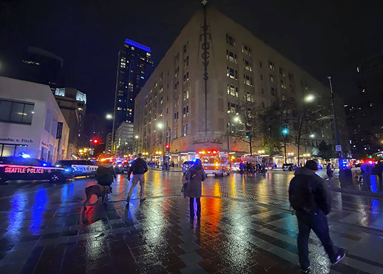 This photo shows the area of a deadly shooting in downtown Seattle on Wednesday. (Suzanne Asprea via AP)