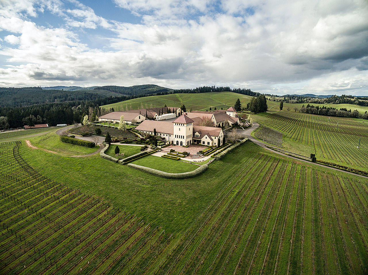 King Estate Winery, a destination near Eugene, Oregon, received a trio of Platinum awards during the 20th annual year-end judging of gold-medal wines staged by Wine Press Northwest magazine in Kennewick. (Photo courtesy of King Estate Winery)