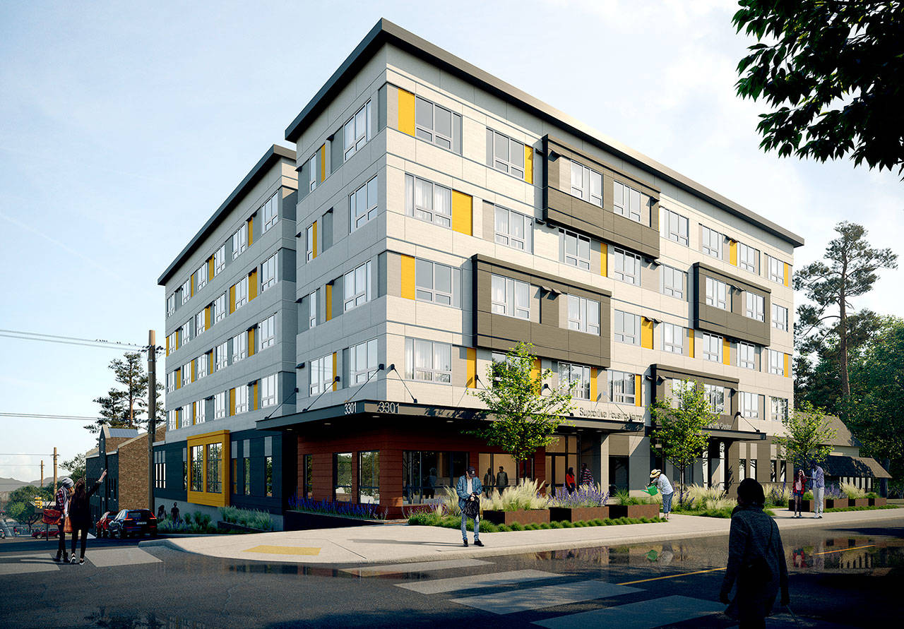 A rendering of Compass Health's planned 82-unit supportive housing building on Broadway in Everett. (Compass Health)