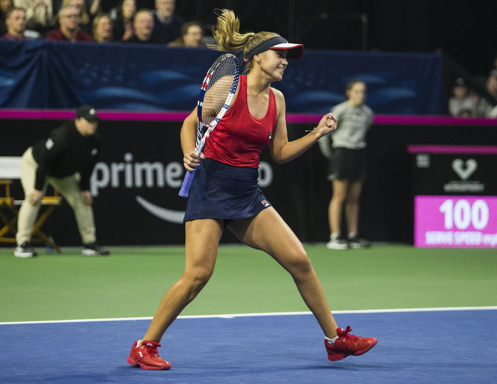 Sofia Kenin pumps her fist in the air after winning a set against Latvia's Anastasija Sevastova during the Fed Cup at Angel of the Winds Arena on Friday in Everett. (Olivia Vanni / The Herald)