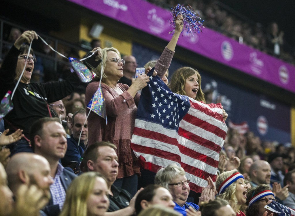The crowd cheers for Sofia Kenin during the Fed Cup at Angel of the Winds Arena on Friday in Everett. (Olivia Vanni / The Herald)