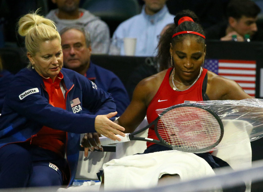 FedCup 2020 qualifying match Saturday evening at Angel of the Winds Arena in Everett on February 8, 2020. (Kevin Clark / The Herald)