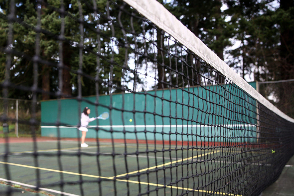 The tennis courts at South Lynnwood Neighborhood Park in Lynnwood. (Kevin Clark / The Herald)