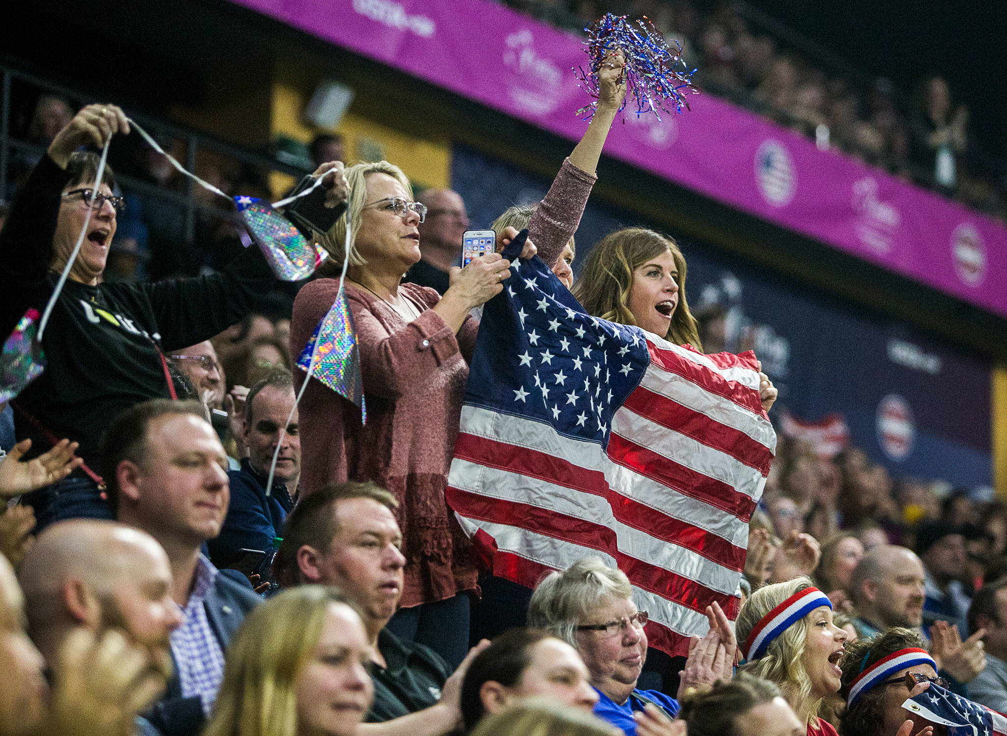 Fans at Angel of the Winds Arena cheer for American tennis player Sofia Kenin during a Fed Cup qualifier against Latvia on Feb. 7 in Everett. The event attracted back-to-back sellout crowds of over 6,300 fans. (Olivia Vanni / The Herald)