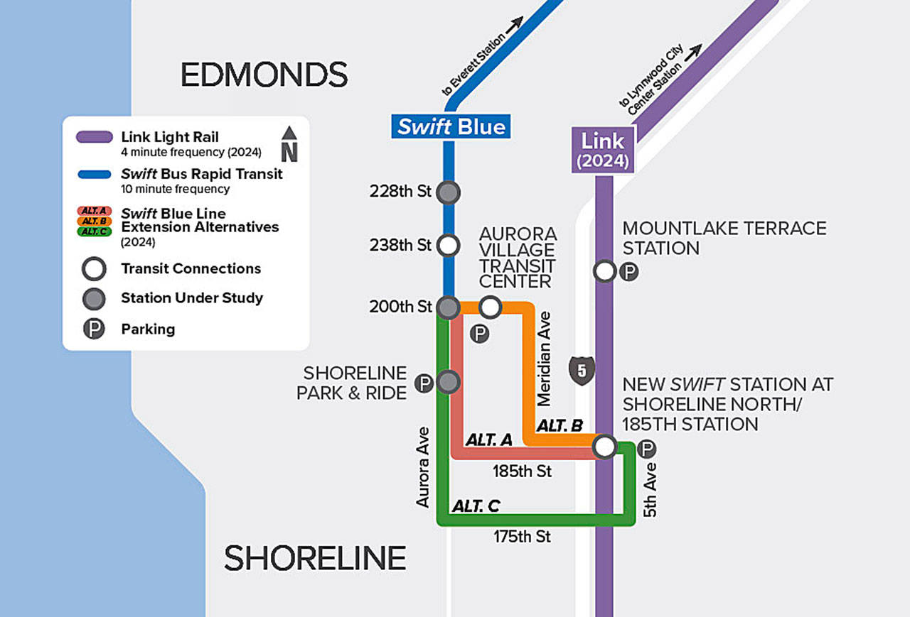 Community Transit wants to know the preferred route for it to extend Swift Blue Line bus rapid transit service to the Sound Transit Link light rail station on N. 185th Street in Shoreline in 2024. (Community Transit)