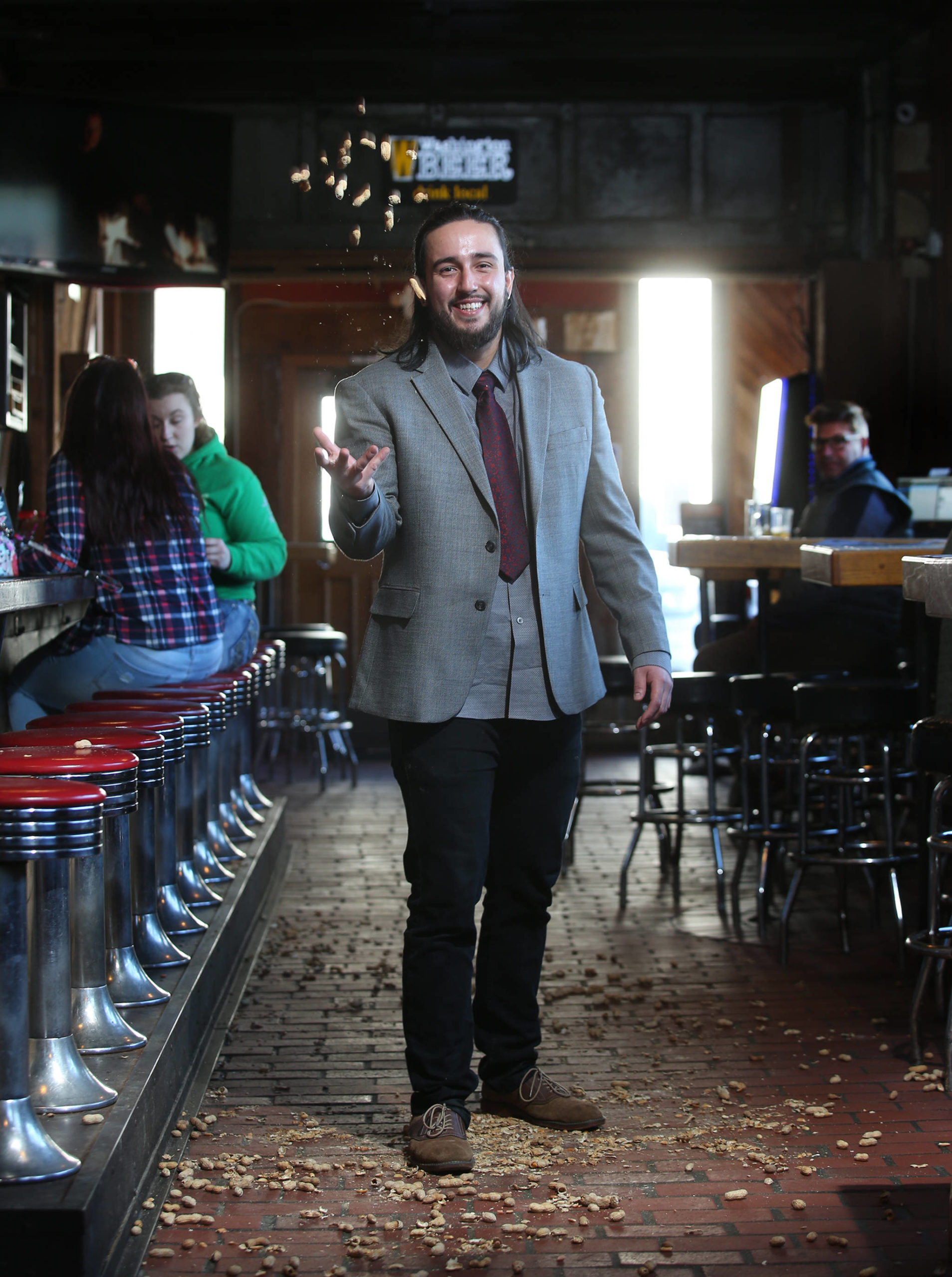 Diamond Knot's Alex Frye moved up the ranks at the Mukilteo brewery and alehouse to tend bar. (Andy Bronson / The Herald)                                 Alex Frye has bartended at Diamond Knot Brewery & Alehouse in Mukilteo for the past six years. (Andy Bronson / The Herald)