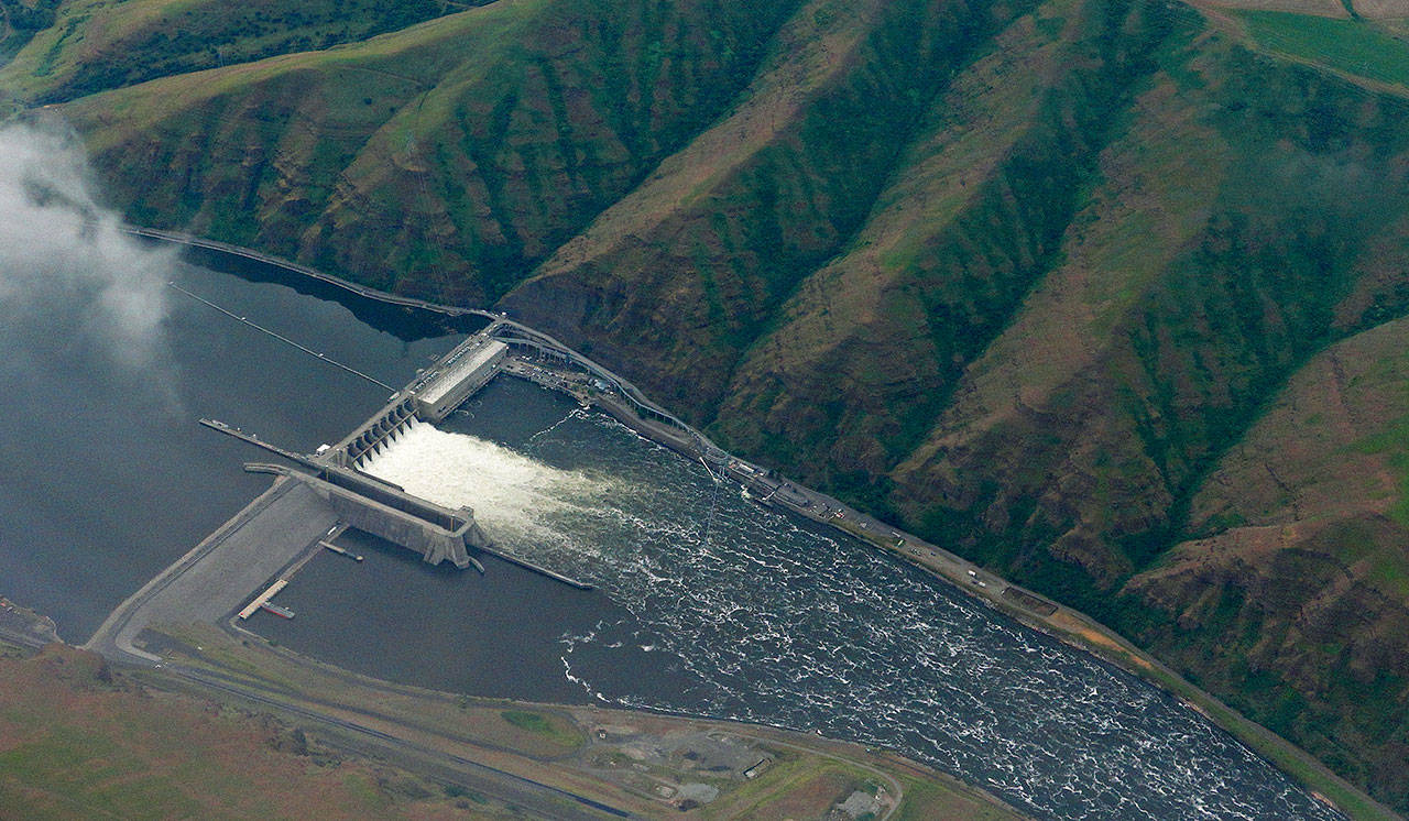 Lower Granite Dam on the Snake River, seen from the air near Colfax, Washington. (AP Photo/Ted S. Warren)