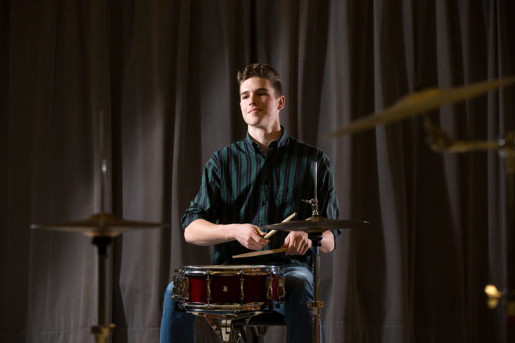 """Mountlake Terrace senior Josh Setala, the """"tall guy who plays drums,"""" has applied to study music at San Francisco Conservatory, the University of Washington and DePaul University in Chicago. (Andy Bronson / The Herald)"""