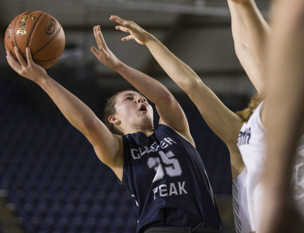 Glacier Peak's Maya Erling attempts a layup during the quarterfinal game against Chiawana at the Hardwood Classic on Thursday, March 5, 2020 in Tacoma , Wa. (Olivia Vanni / The Herald)