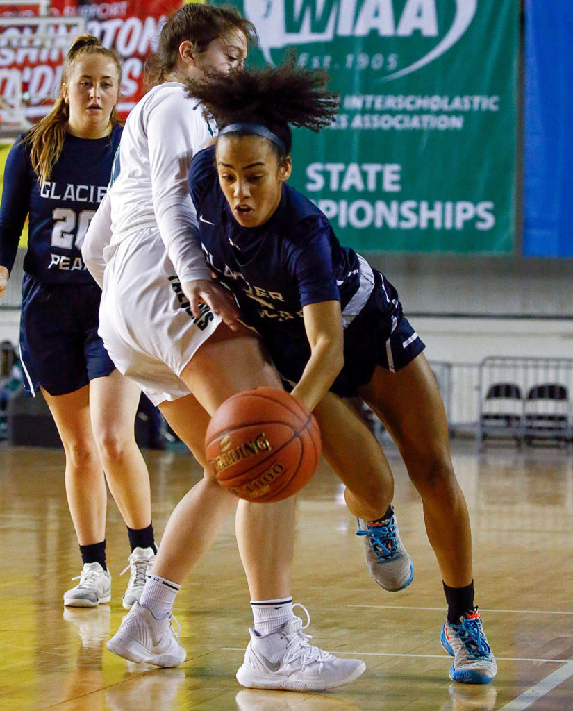 Glacier Peak lost to Woodinville, 63-41, in the semifinals Friday afternoon at the Tacoma Dome on March 6, 2020. (Kevin Clark / The Herald)