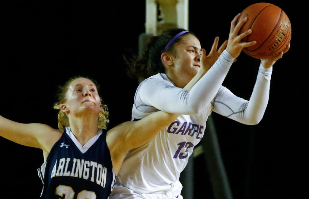Arlington lost Garfield, 53-36, in the 3A semifinals Friday evening at the Tacoma Dome on March 6, 2020. (Kevin Clark / The Herald)