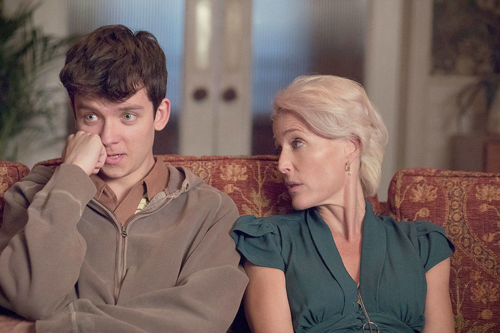 """Asa Butterfield and Gillian Anderson in """"Sex Education."""" (Netflix)"""