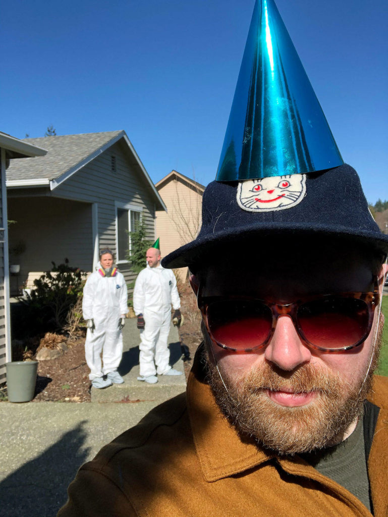 Tyler Chism on his 33rd birthday in a party hat his in-laws left him along with a cake at the end of the driveway. (Tyler Chism)