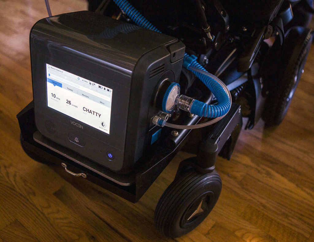 This 2019 photo shows a VOCSN, an acronym for ventilator, oxygen concentrator, cough assist, suction and nebulizer, made by the Bothell company Ventec Life Systems. (Olivia Vanni / Herald file)