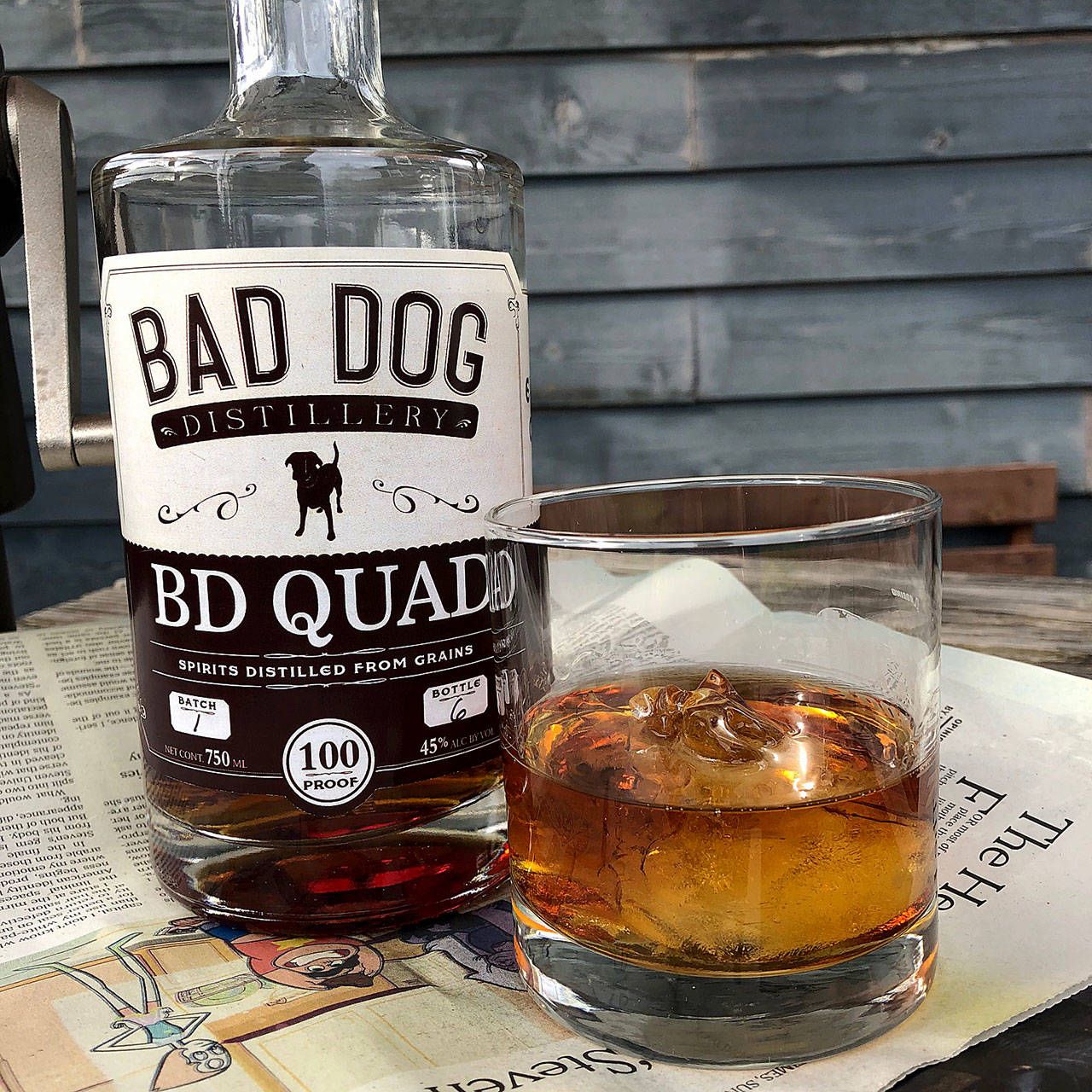 Bad Dog Distillery's BD Quad is made from equal parts rye, corn, wheat and barley. (Aaron Swaney)