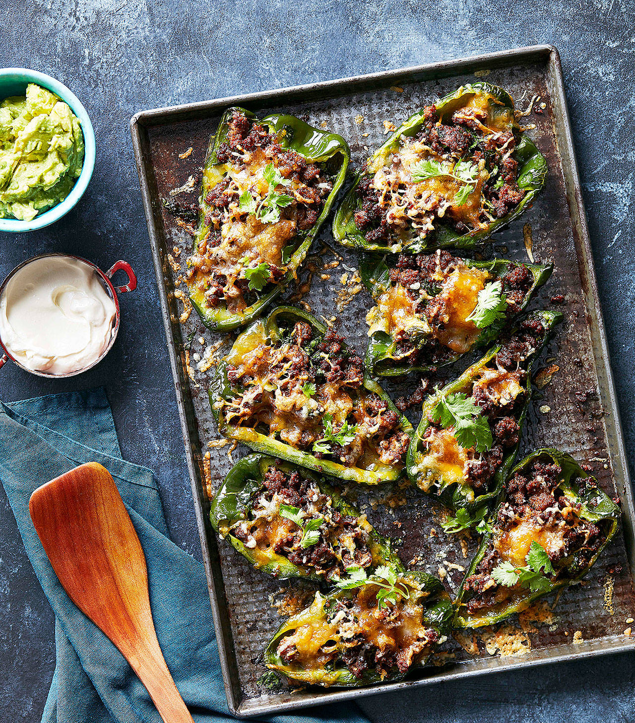 These keto diet-compliant stuffed poblanos take 10 minutes to prep and six minutes to cook. (Houghton Mifflin Harcourt)