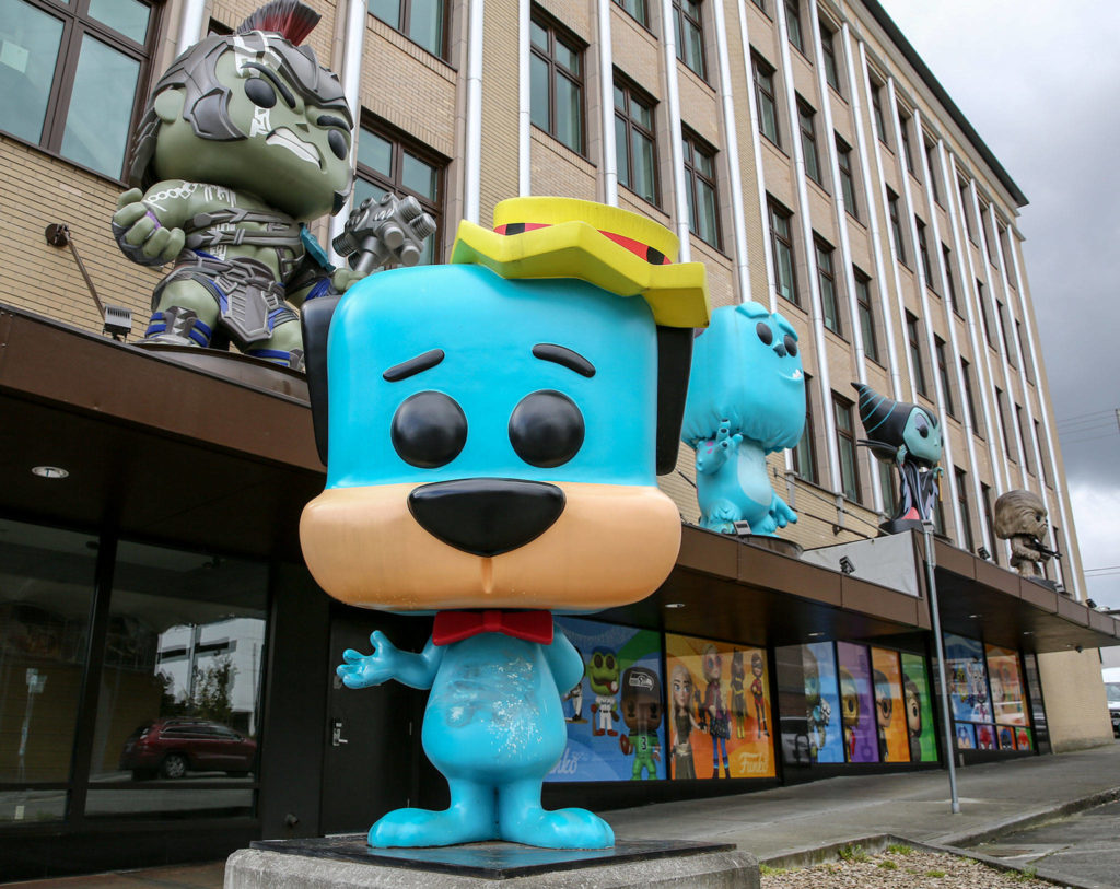 With many employees working from home, the Funko headquarters in downtown Everett was quiet on Thursday. (Kevin Clark / The Herald)
