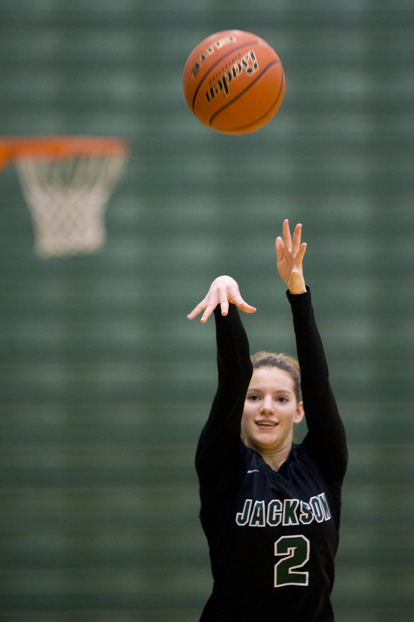 Mack Konig practices with her Jackson High teammates Feb. 3 in Everett. (Andy Bronson / The Herald)
