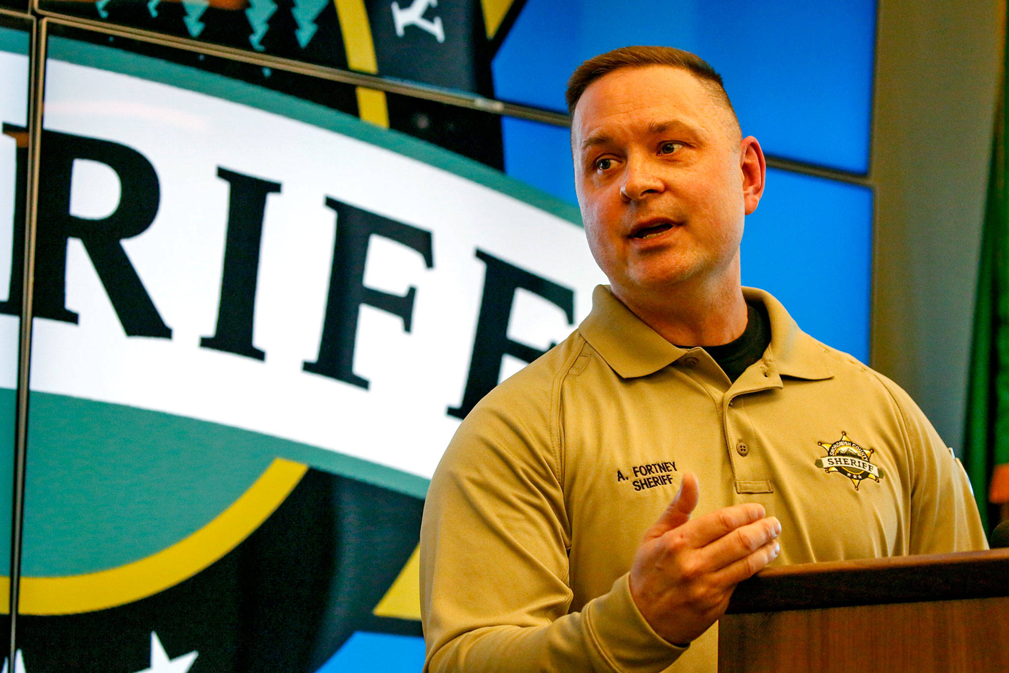 Sheriff Adam Fortney at a news conference April 22 in Everett. (Kevin Clark / The Herald)