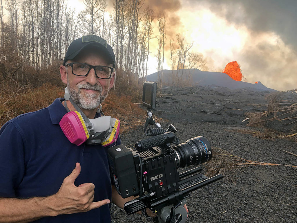 In 2018, Michel Lienau films the lava flow from the Kilauea volcano in Hawaii. (Jeff Rogers photo)