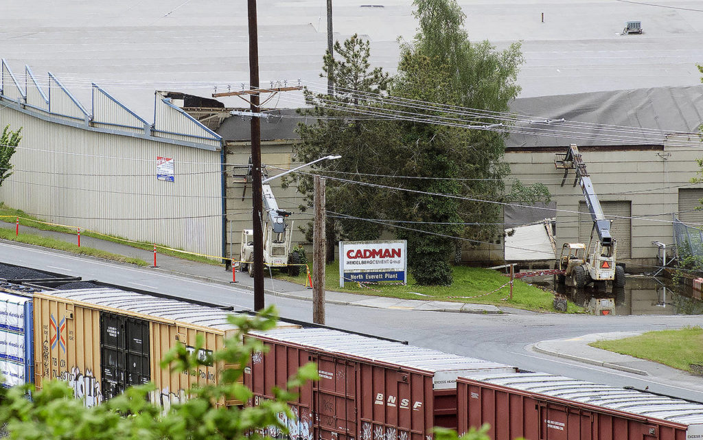 The collapsed roof of the former Nord Door building at 300 West Marine View Drive is seen from Legion Park. (Sue Misao / The Herald)