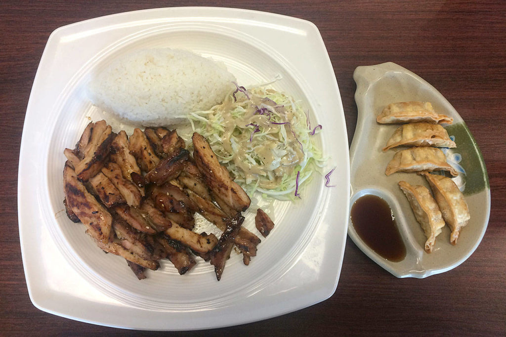 The chicken and gyoza combination from SOLID Modern Teriyaki in Mill Creek. (Evan Thompson / The Herald)