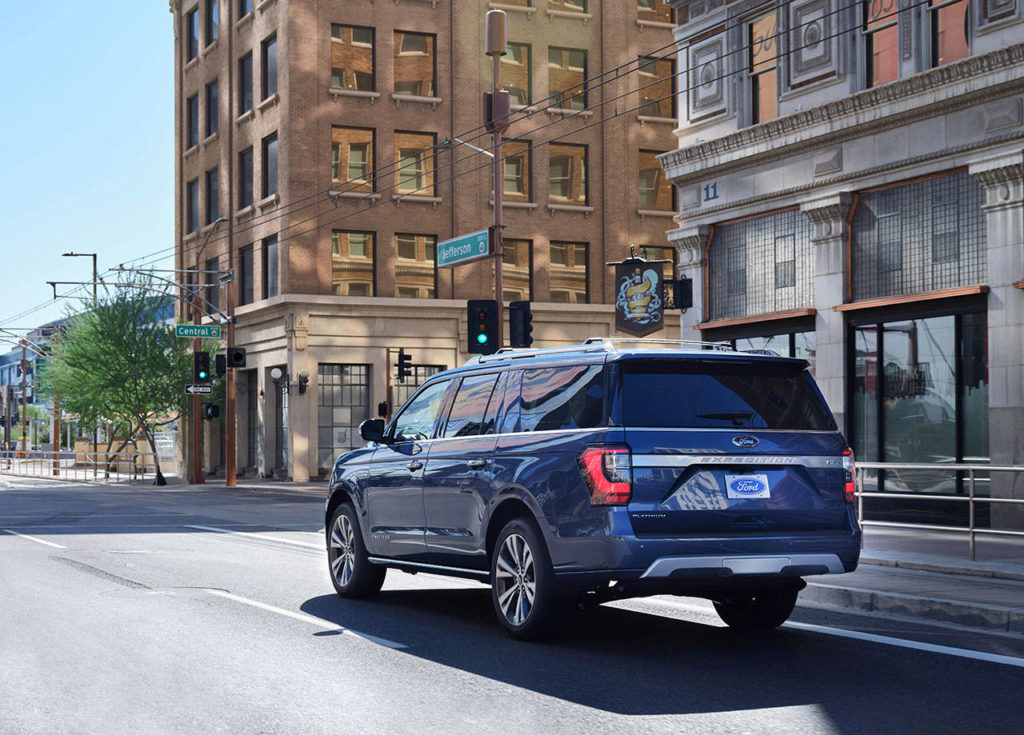 The 2020 Ford Expedition Platinum model has newly designed 22-inch wheels. (Manufacturer photo)