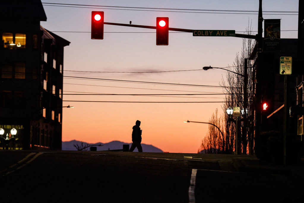 Empty downtown streets in Everett. (Kevin Clark / The Herald)