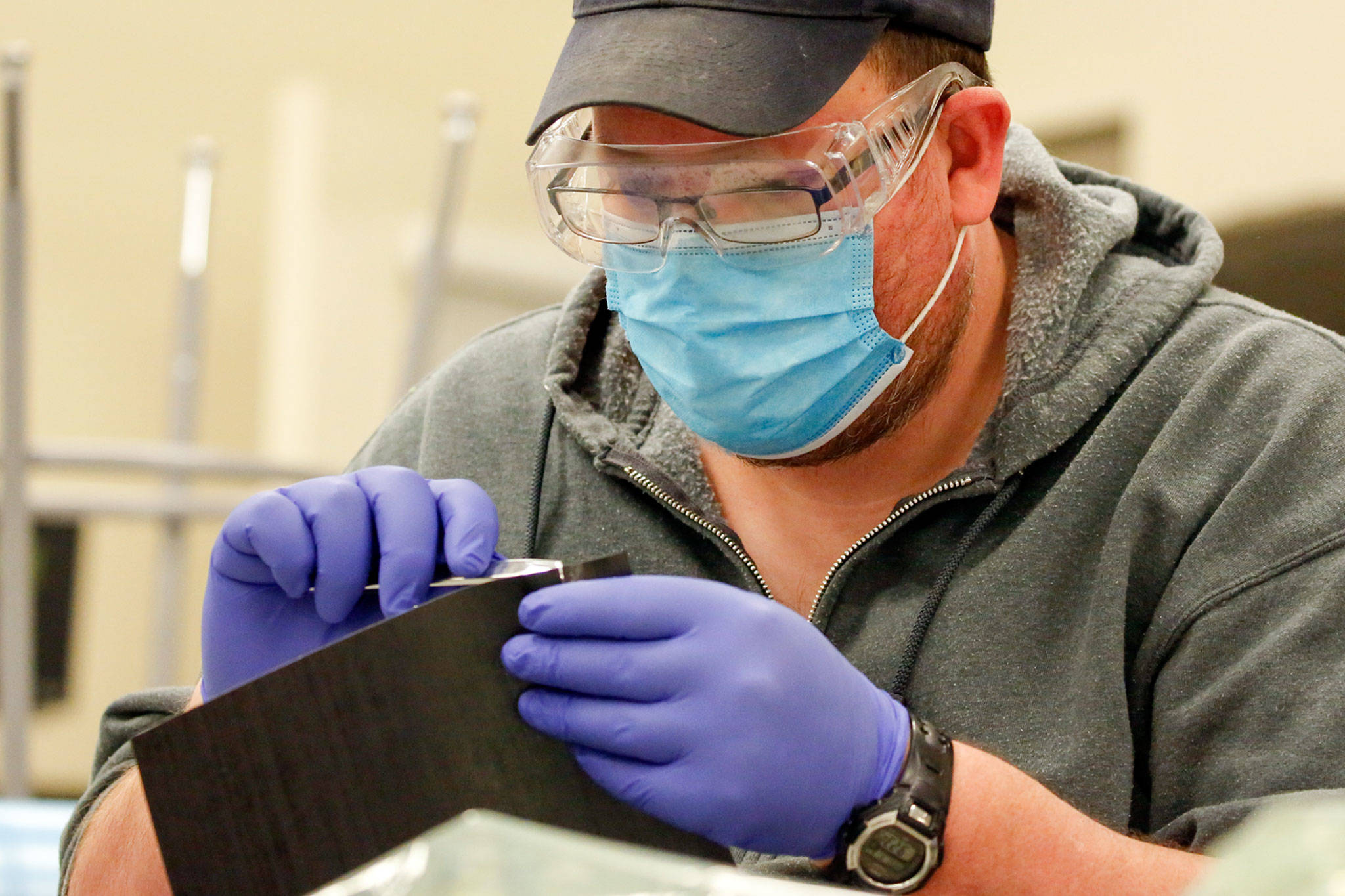 Brendan Fellows works on an assignment at the Advanced Manufacturing Training & Education Center at Everett Community College. (Kevin Clark / The Herald)